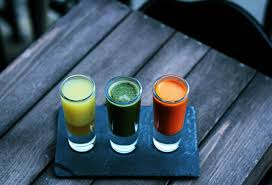 Yellow, Green, Orange, juice shots