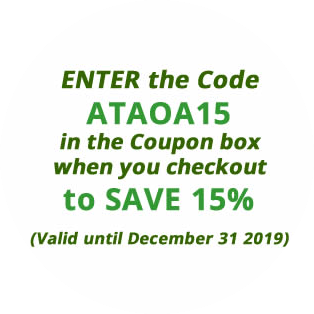 Enter the code ATAOA15 in the Coupon Box when you checkout to save 15% - valid until Dec 31 2019