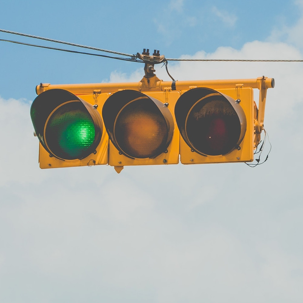 traffic light with green light on