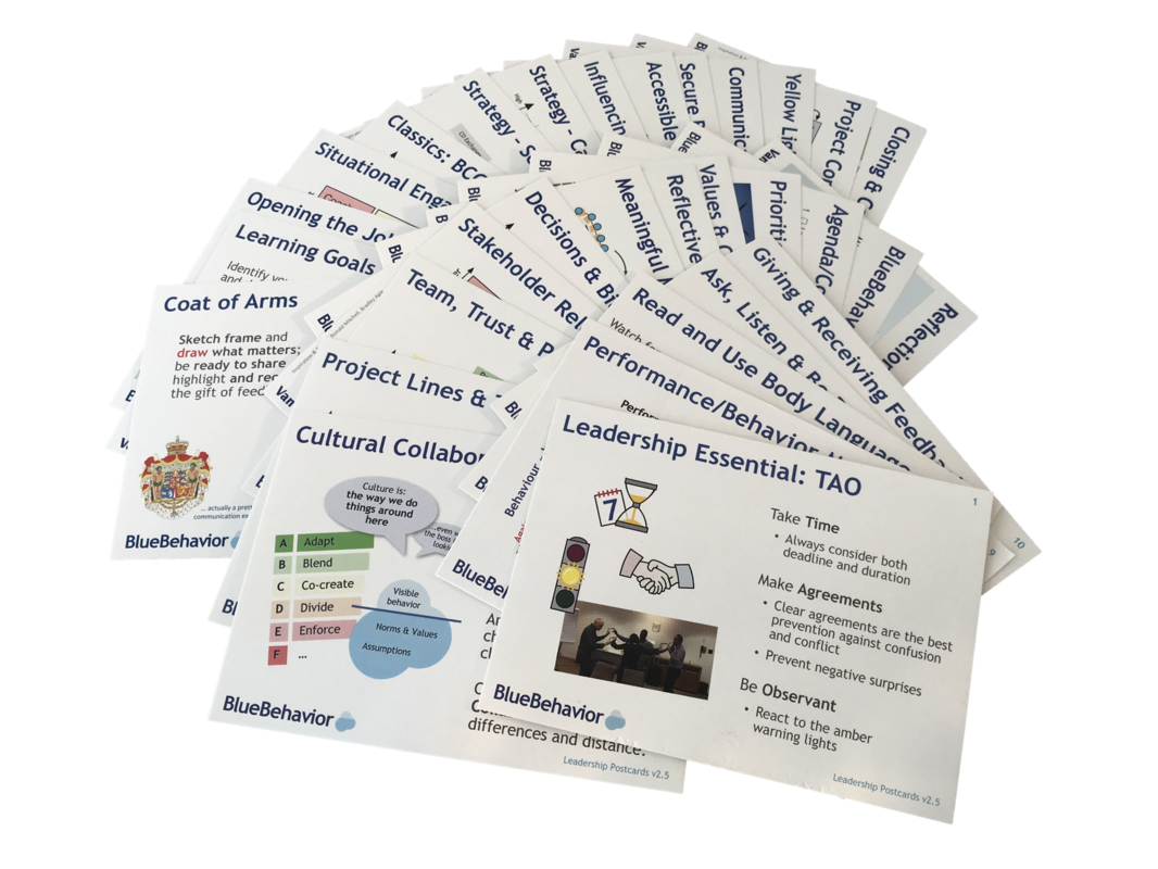 Leadership postcards developed by Ulrik Ramsing and Blue Behavior