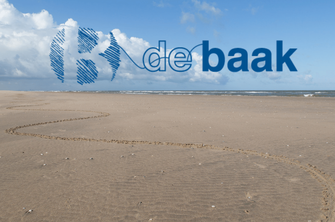 DeBaak logo over image of sandy beach with tracks