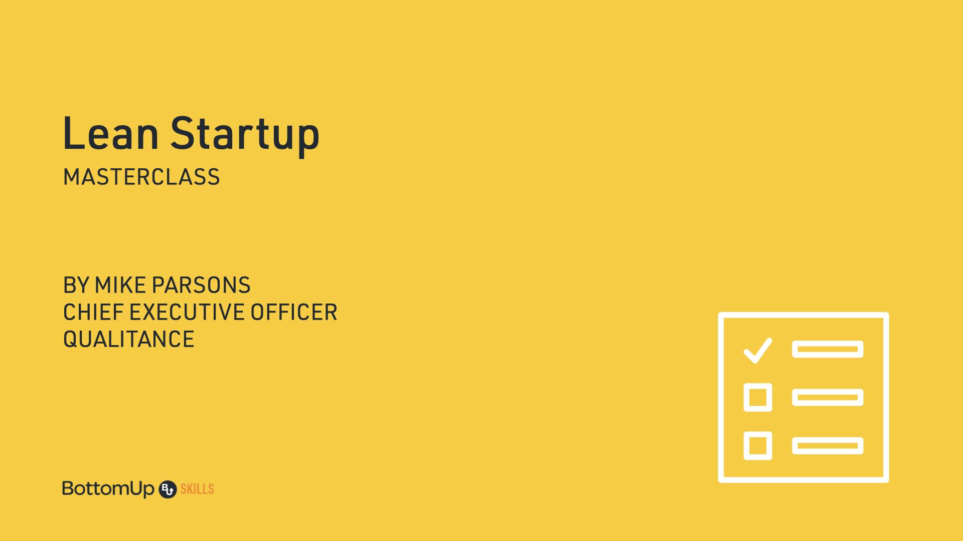 Lean Startup Masterclass