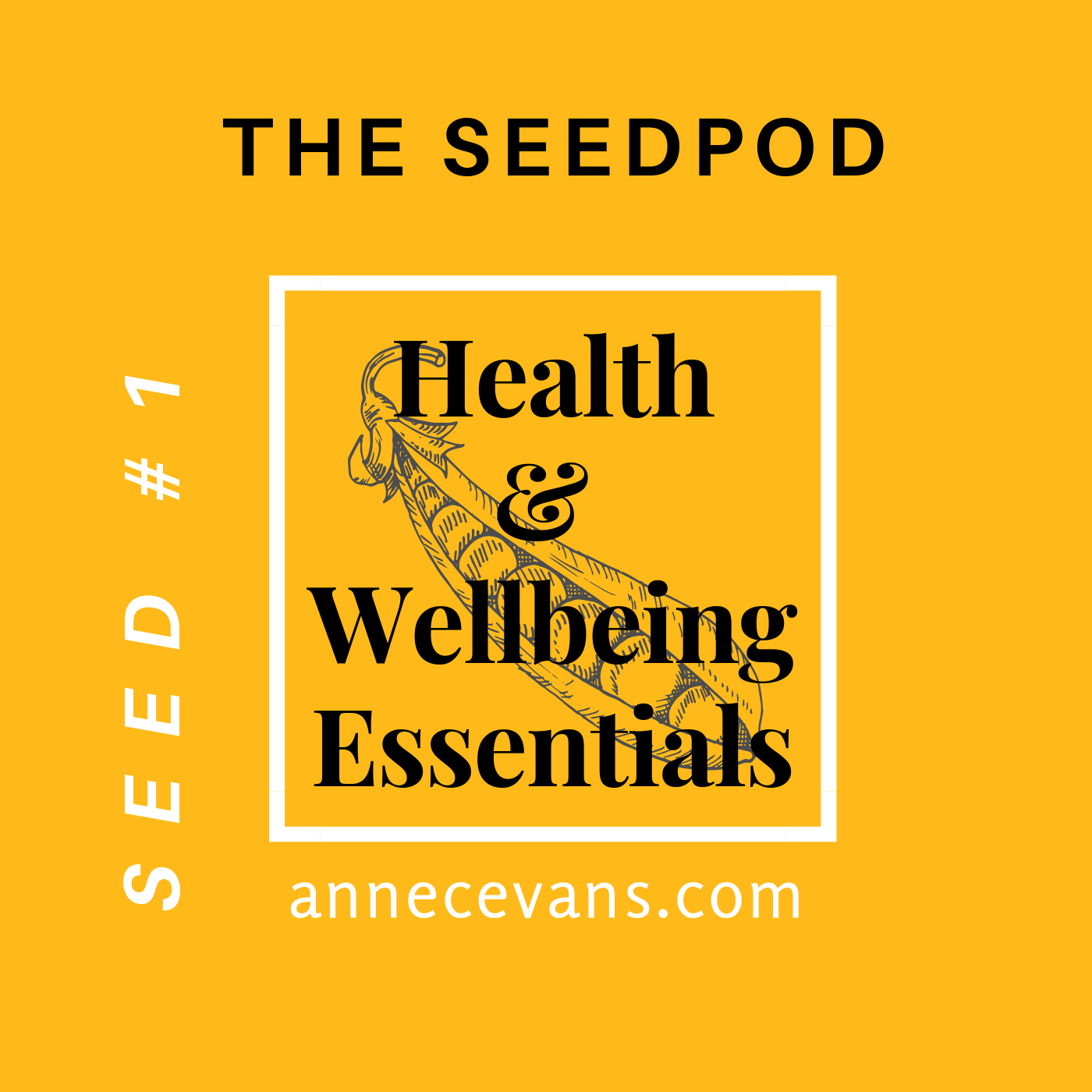 Alt=The Seedpod Podcast #1: Health & Wellbeing Essentials on a golden yellow cover'