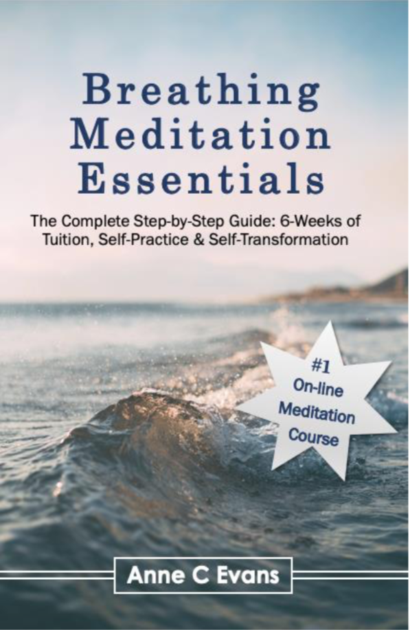 Alt='Breathing Meditation Essentials e-book cover page with blue and pink sky and ocean wave'