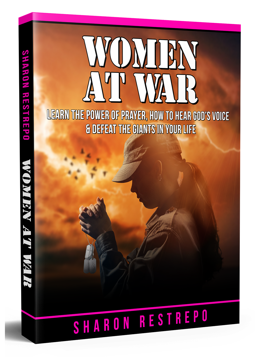 Women at War book with picture of female soldier praying