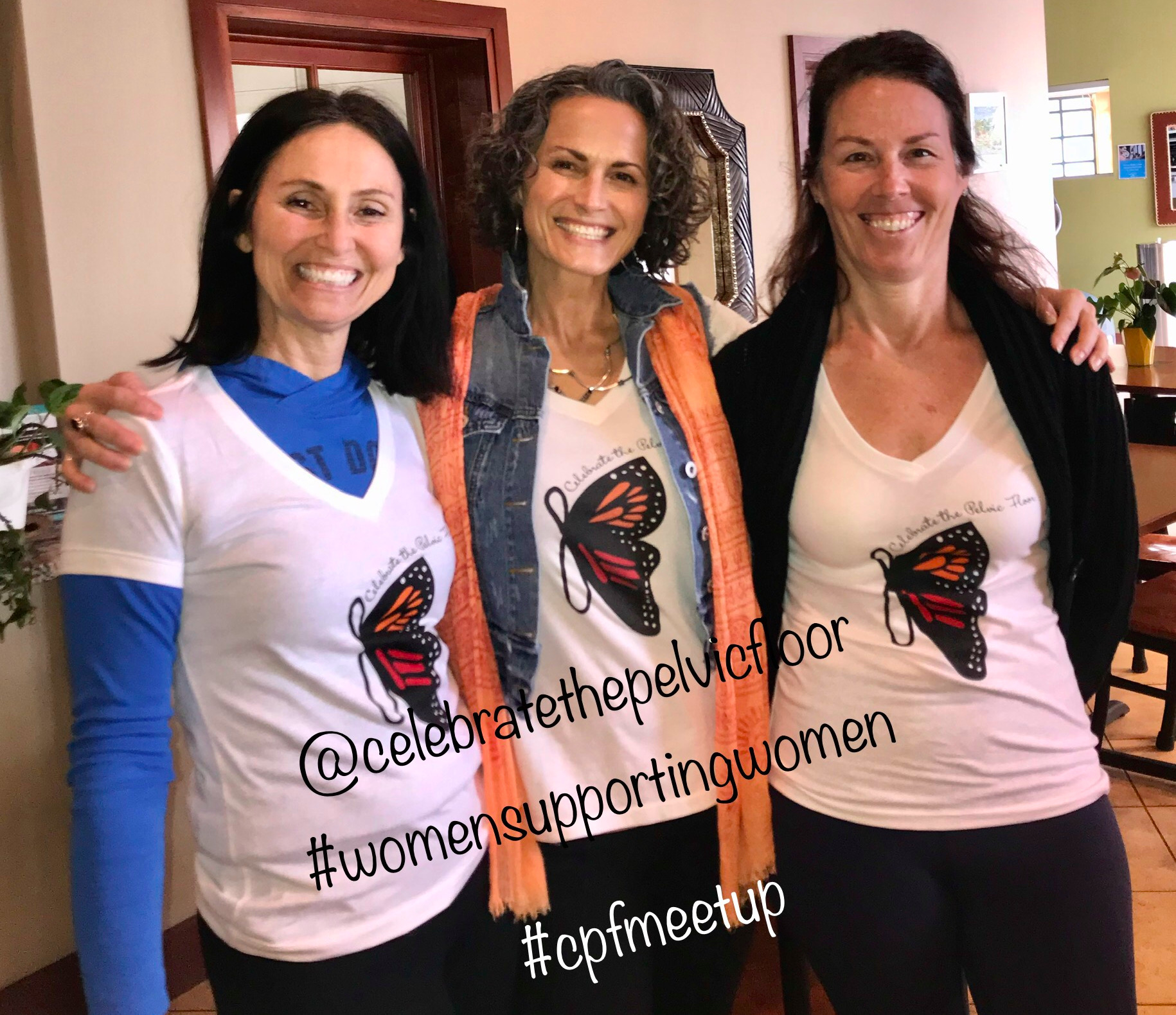 image of 3 happy women smiling at a Celebrate the Pelvic Floor event