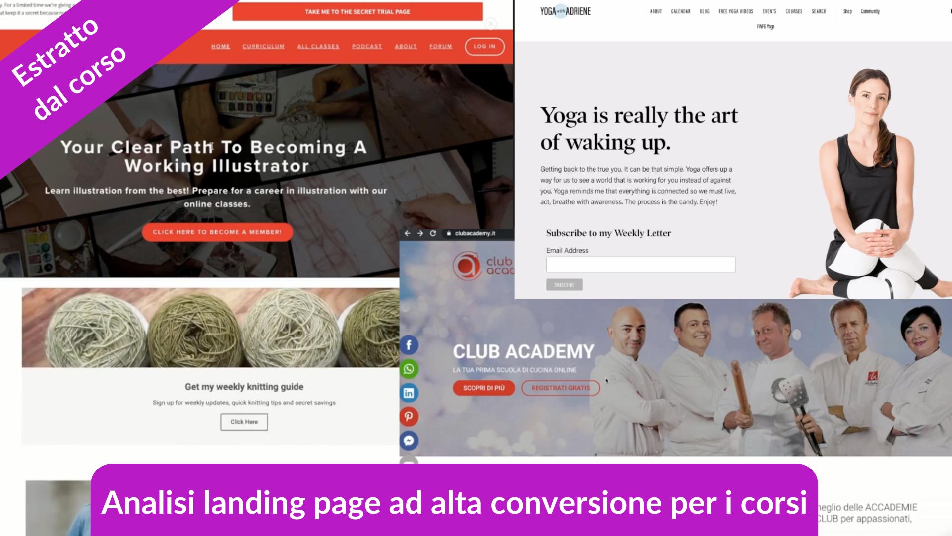 Estratto dal corso come vendere corsi online, analisi di landing page ad alta conversione