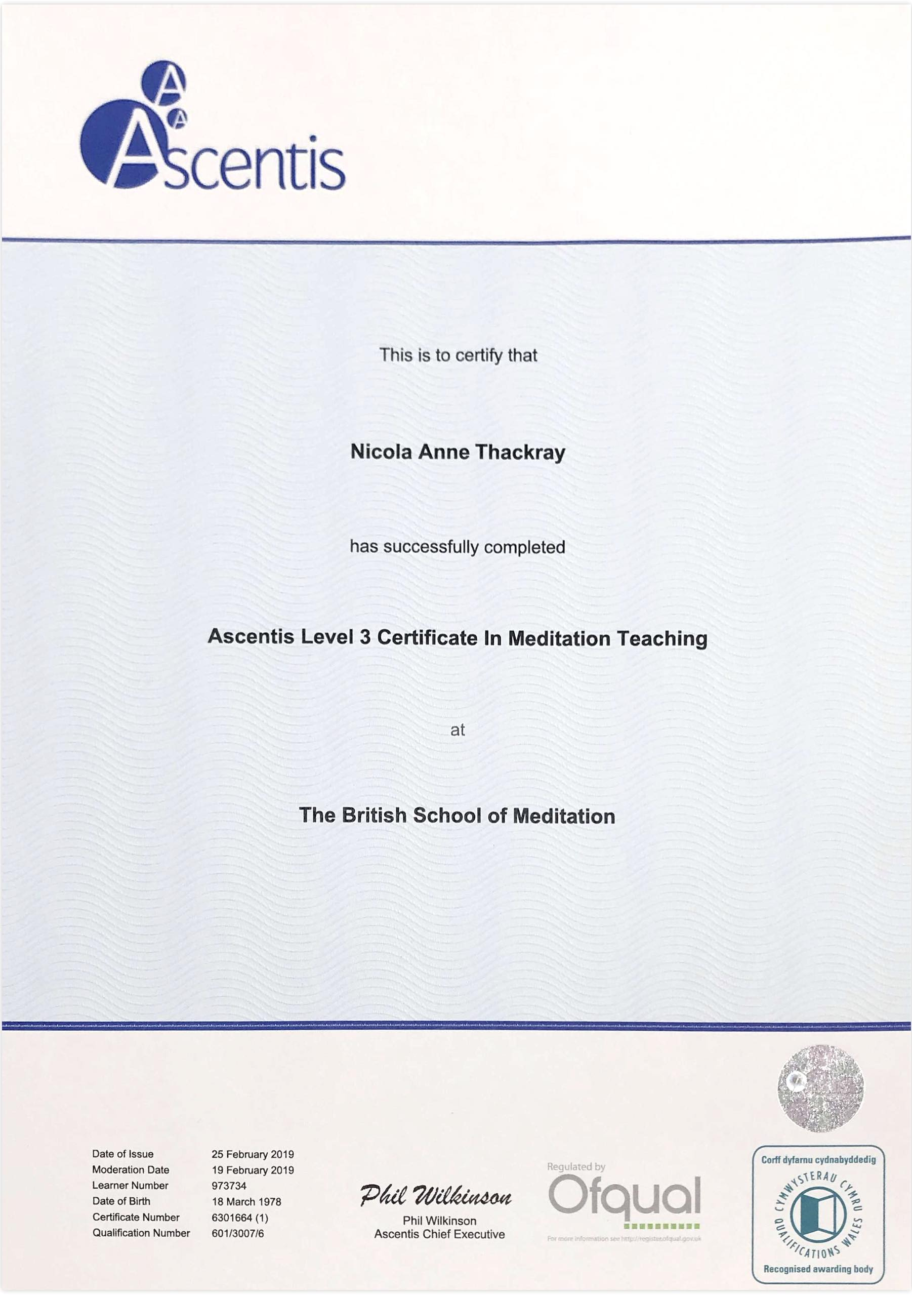 Nicky's Certificate, from the examination body
