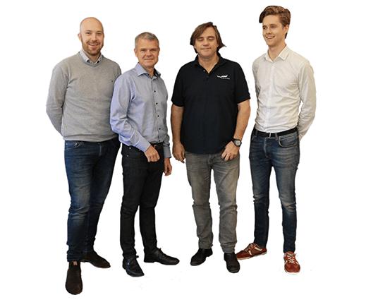 Från vänster: Erik Eriksson, Anders Dyhre, Tomas Glatzl, Hugo Glatzl
