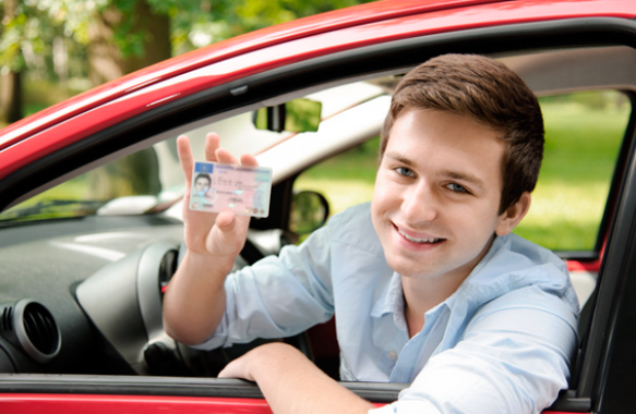 Driving Student Holding a License