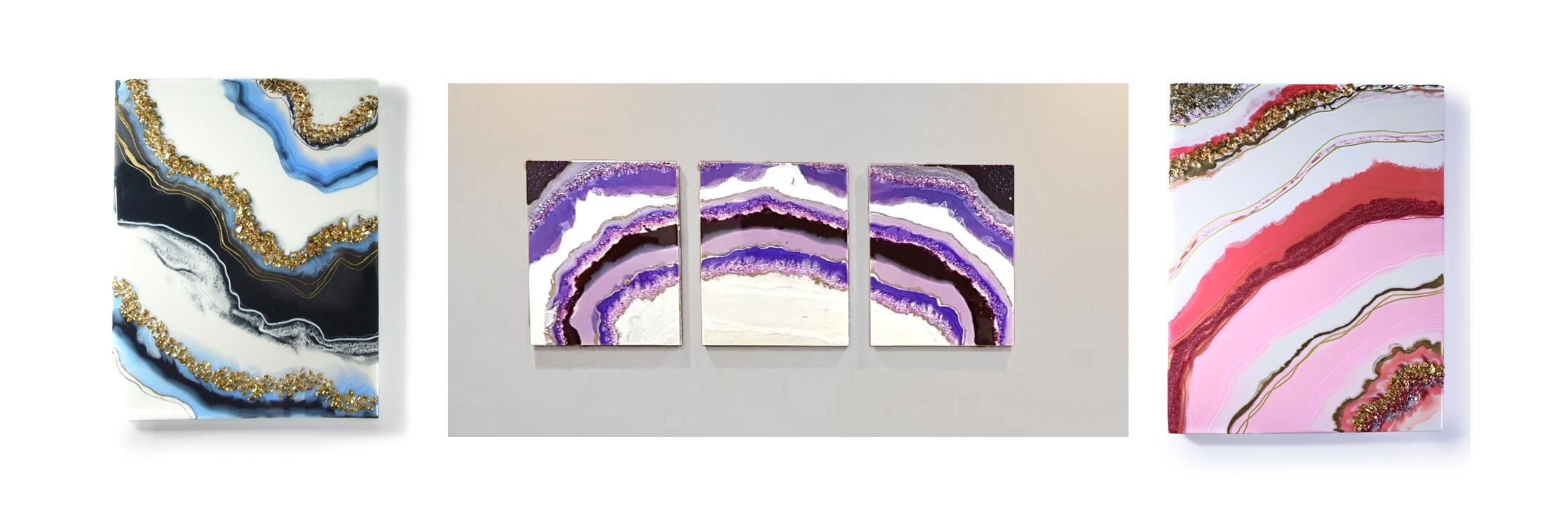 resin geode paintings