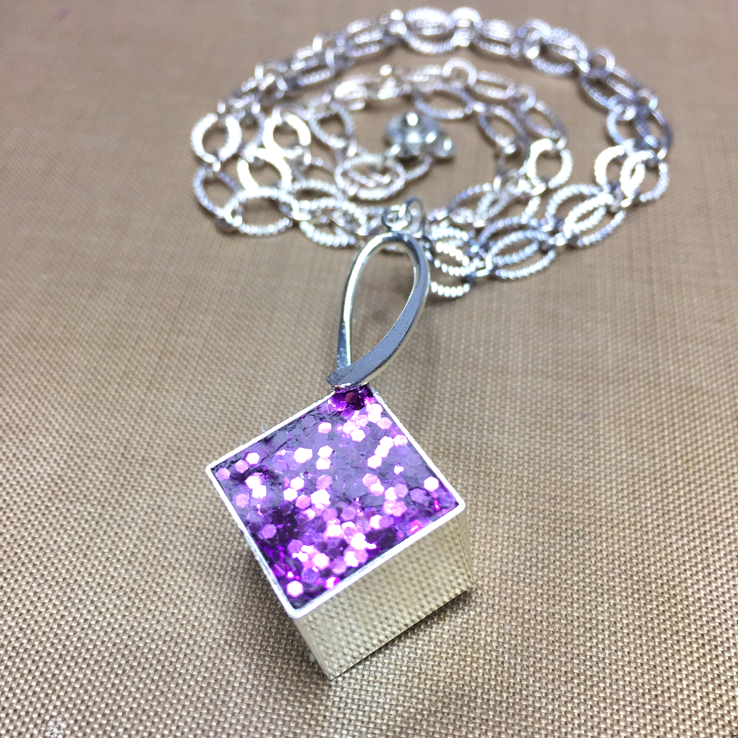 Glittered resin cube pendant