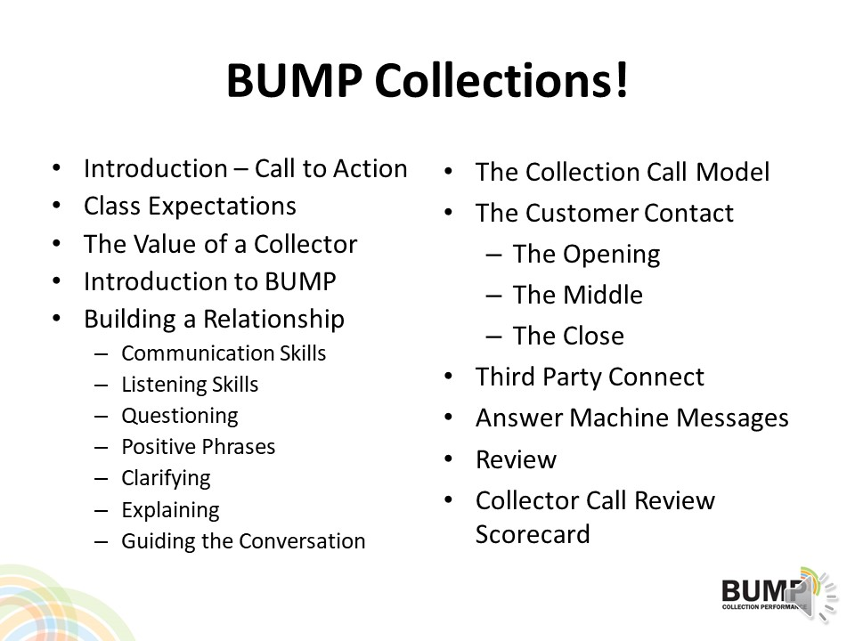 BUMP Collections Agenda