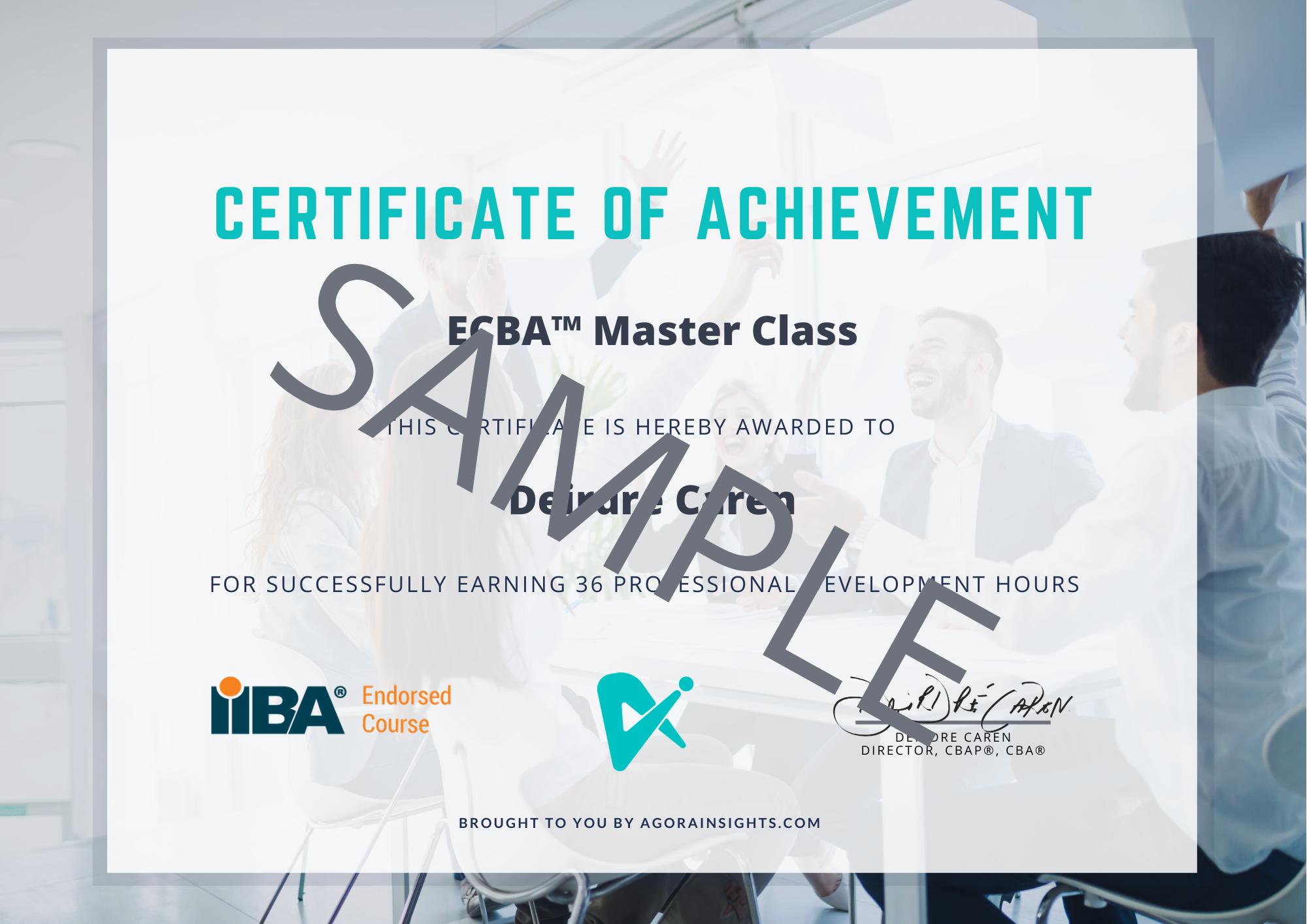 ECBA Master Class Certificate Sample