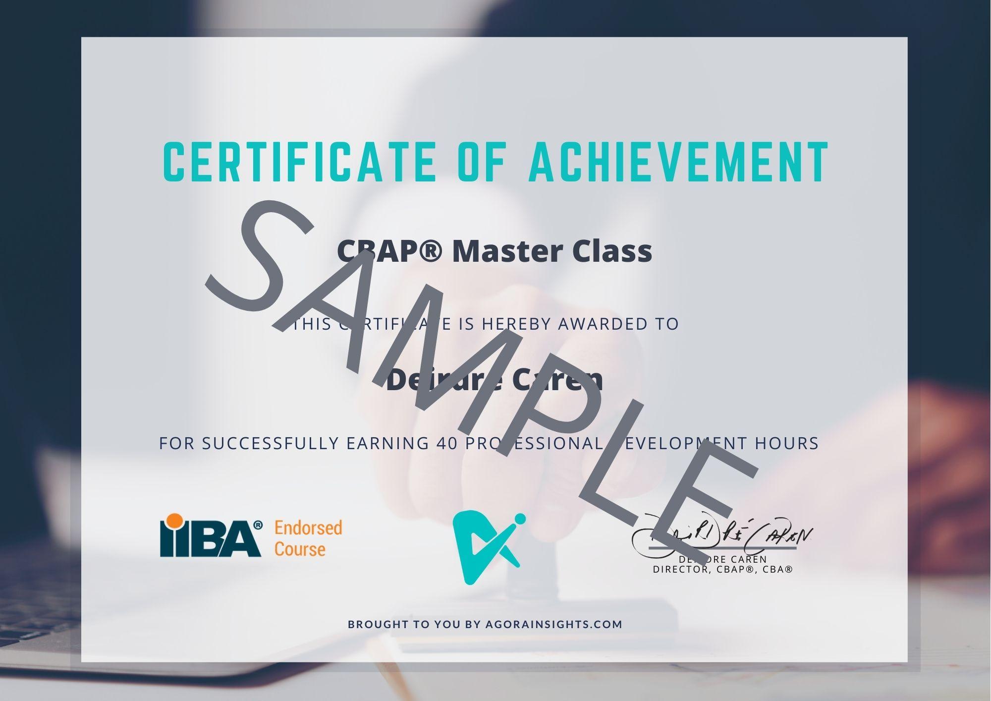 CBAP Master Class Certificate Sample