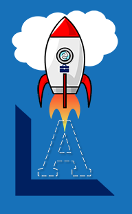 logo of eLearning Launch rocket soaring up in clouds