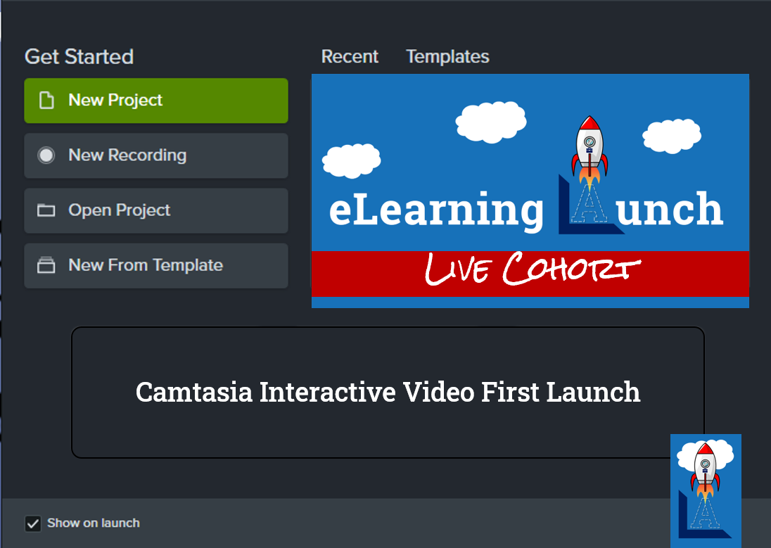 gray screen with green buttons and words camtasia interactive video first launch