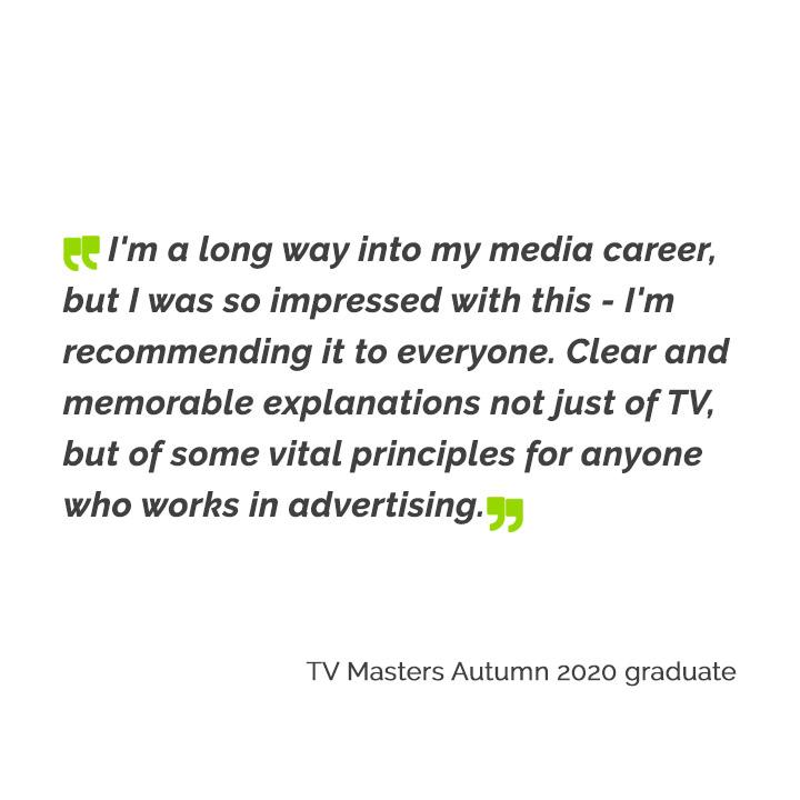 TV Masters Autumn 2020 graduate
