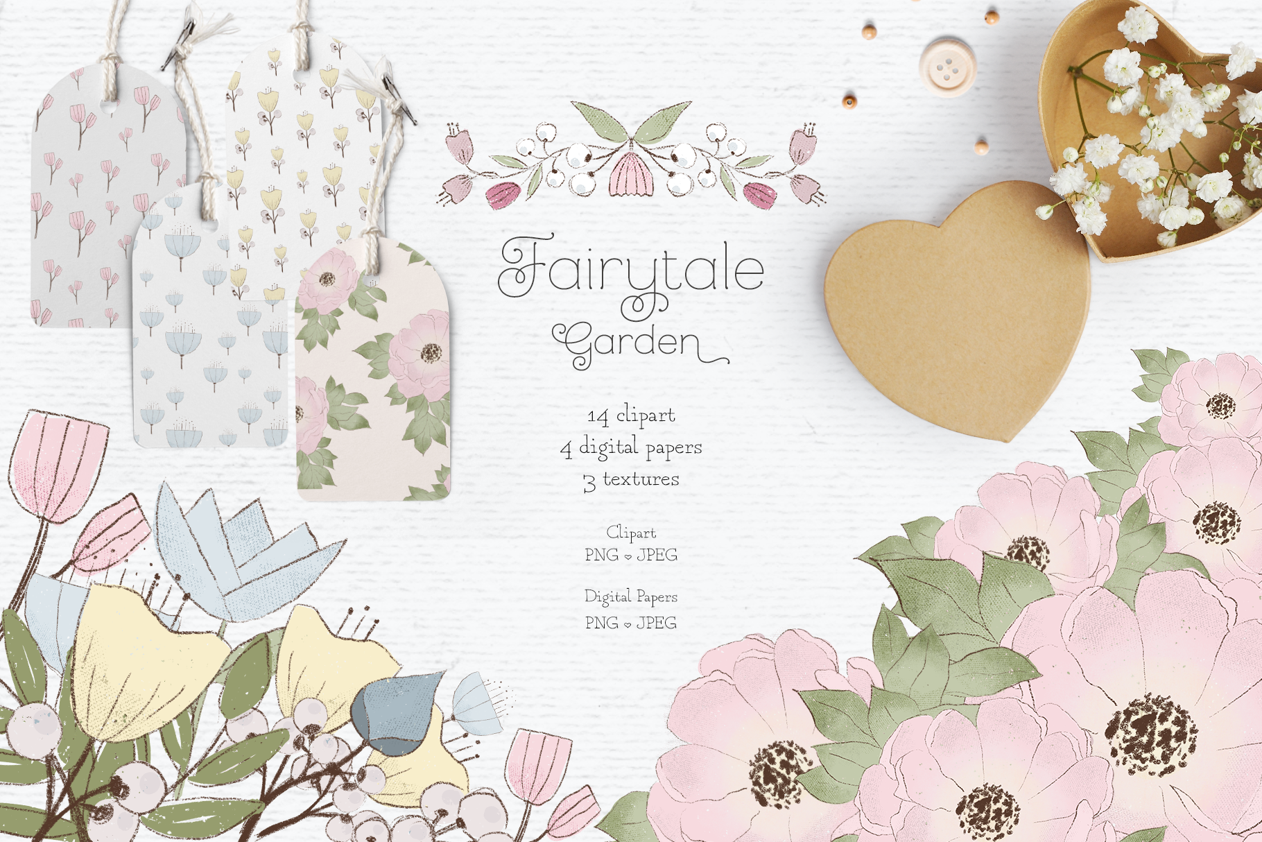 Whimsical floral clipart pack included with the class