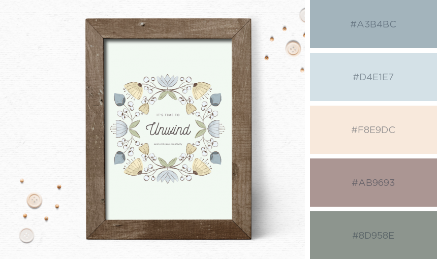 Whimsical quote art printable with color palette