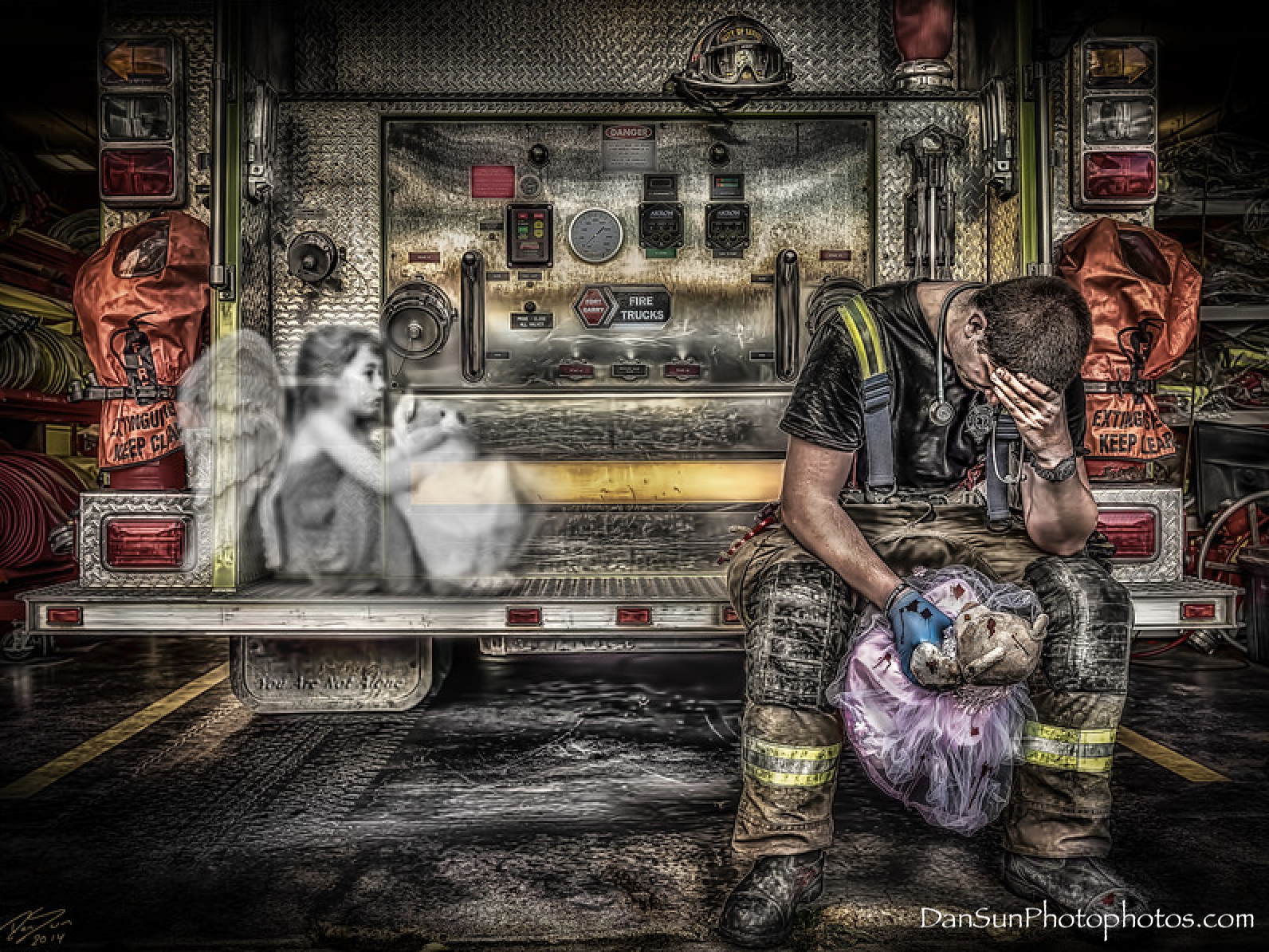 Photo of a grieving firefighter holding a teddy bear and the ghost of a little girl.