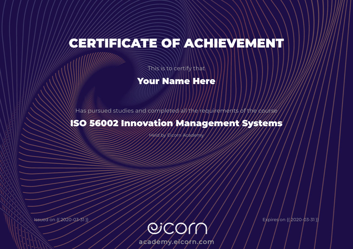 Eicorn Academy Certificate