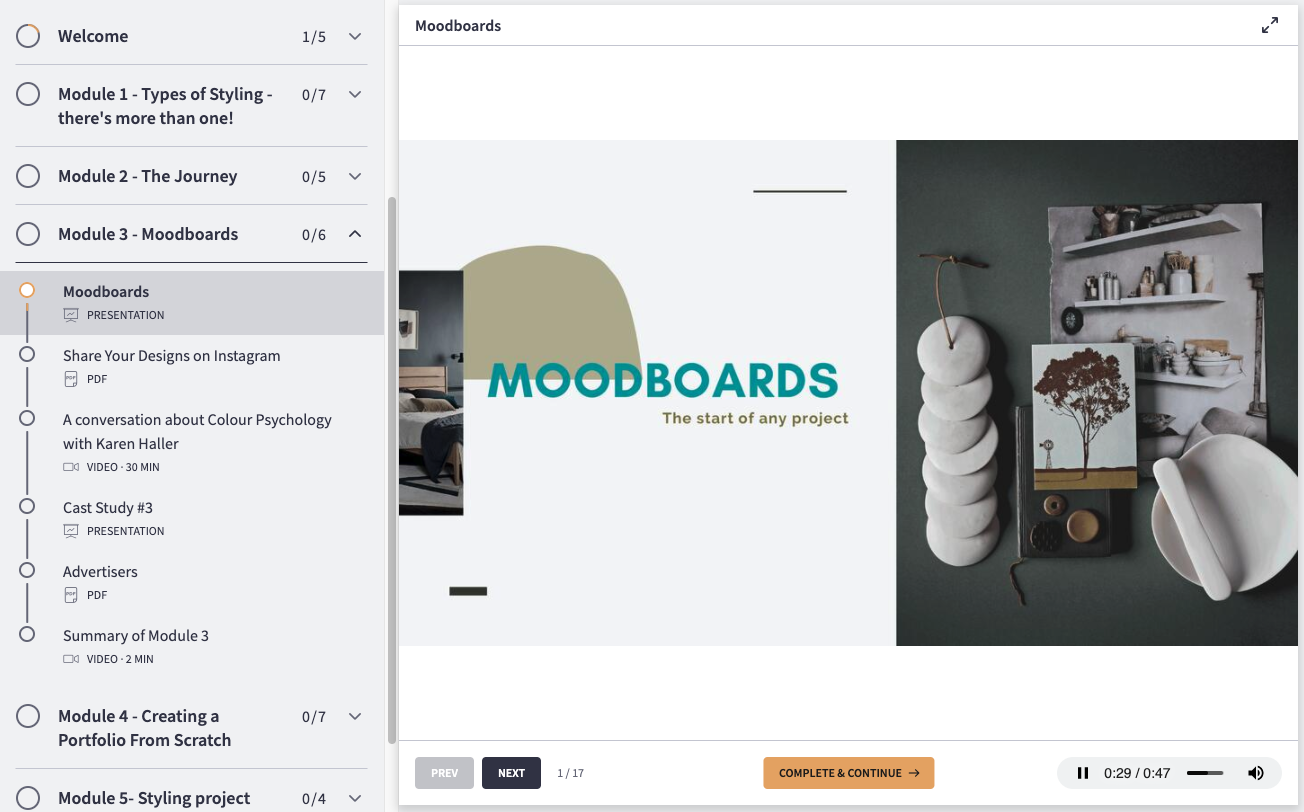 snapshot of mood board module