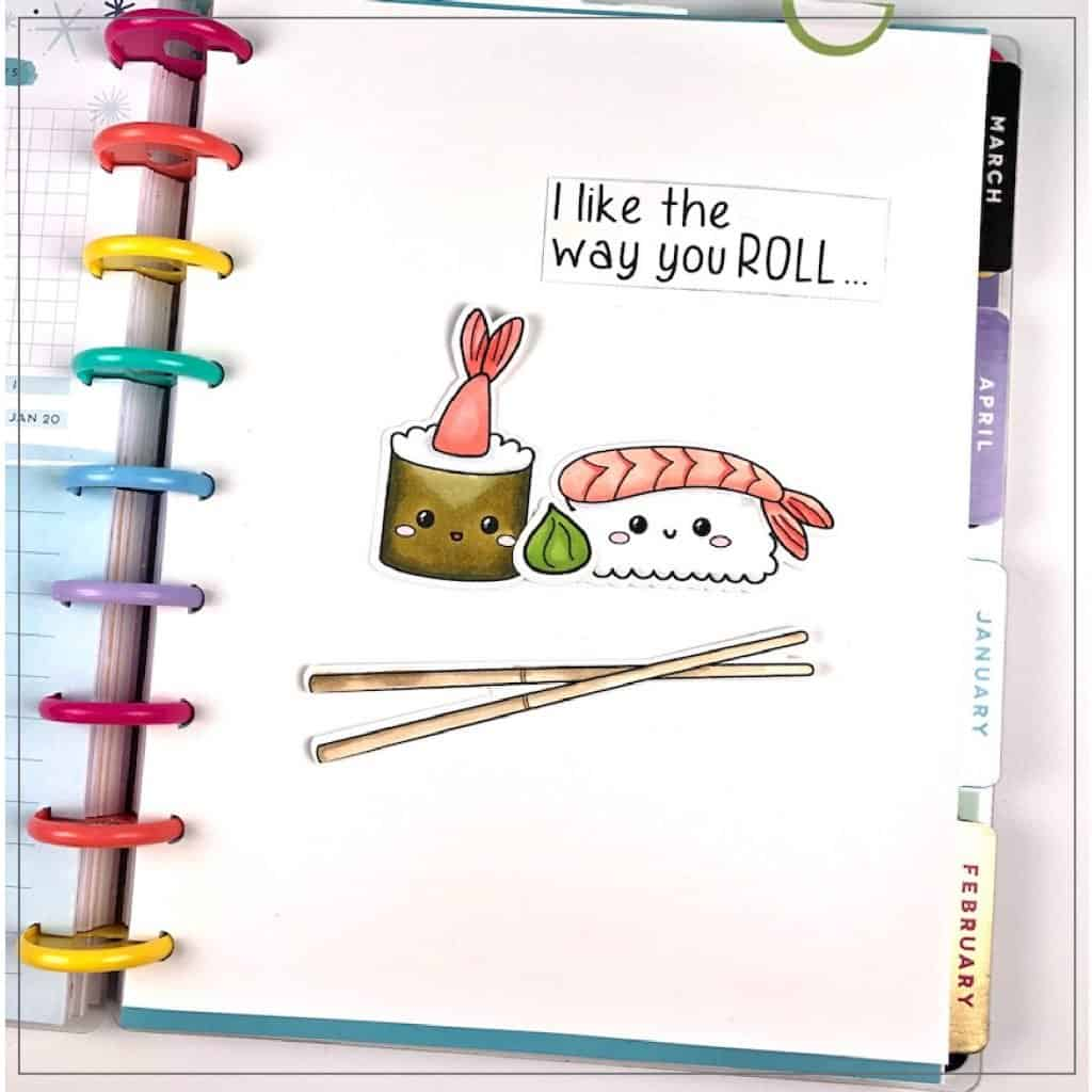 sushi rolls in happy planner
