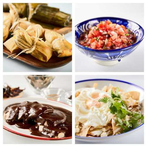 tamales, picos de gallo, mole y enchiladas