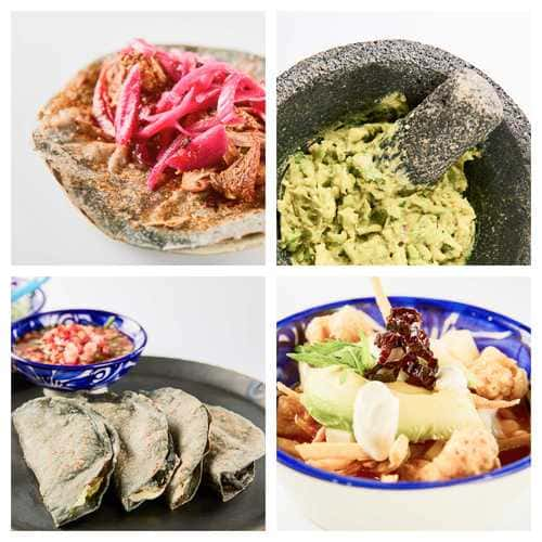 cochinita pibil, guacamole, quesadillas, sopa de tortilla