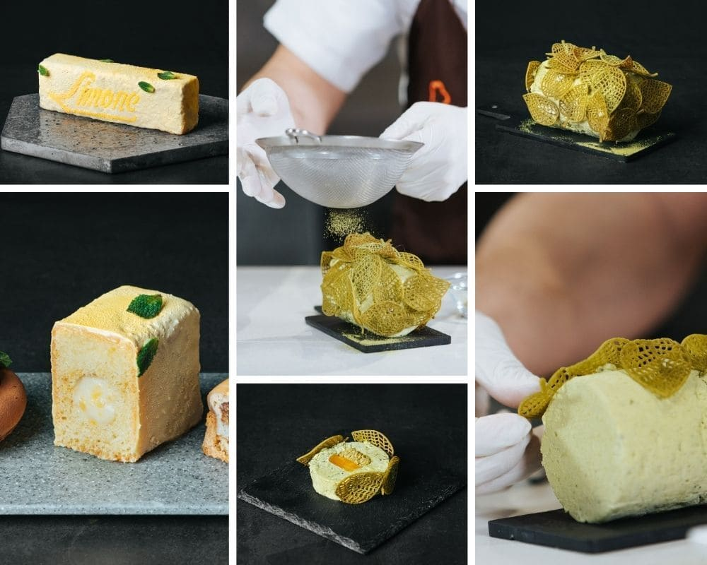 Cake de limón y Mousse de chocolate blanco y té macha