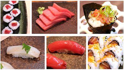 Diferentes tipos de sushi y sashimi