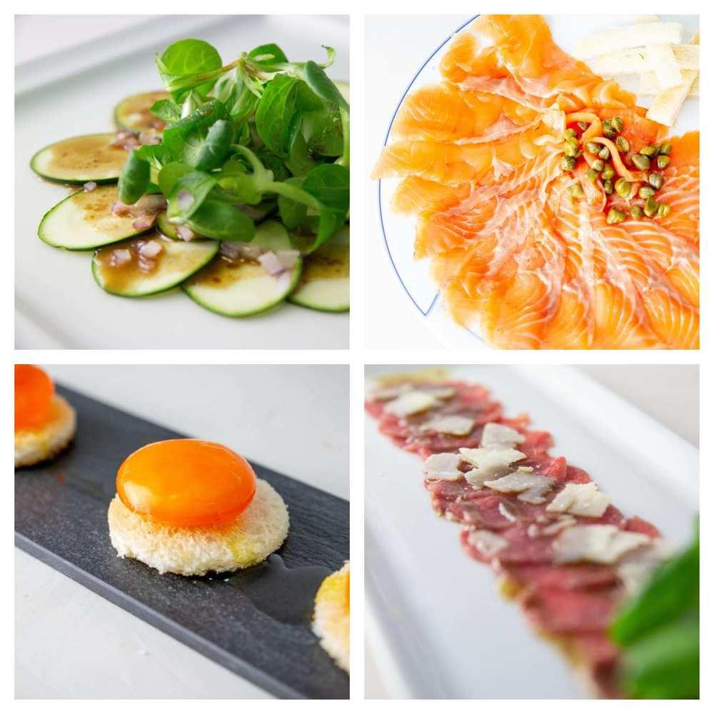 Elaboraciones realizadas sin aplicación de calor: carpaccio de calabacin, salmon marinado, yema de huevo curada y carpaccio de ternera