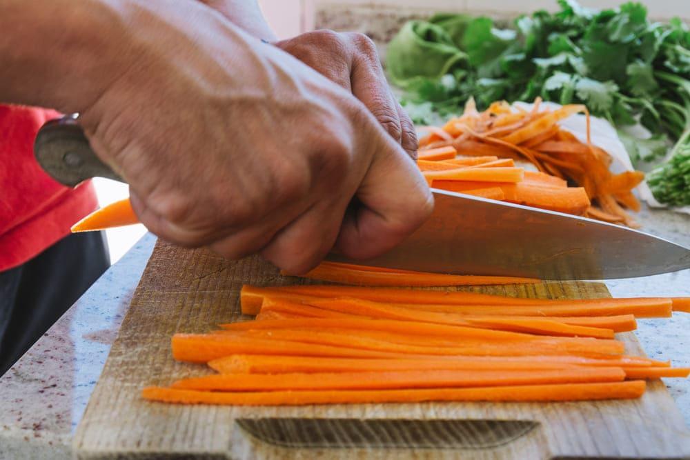 corte en juliana de una zanahoria