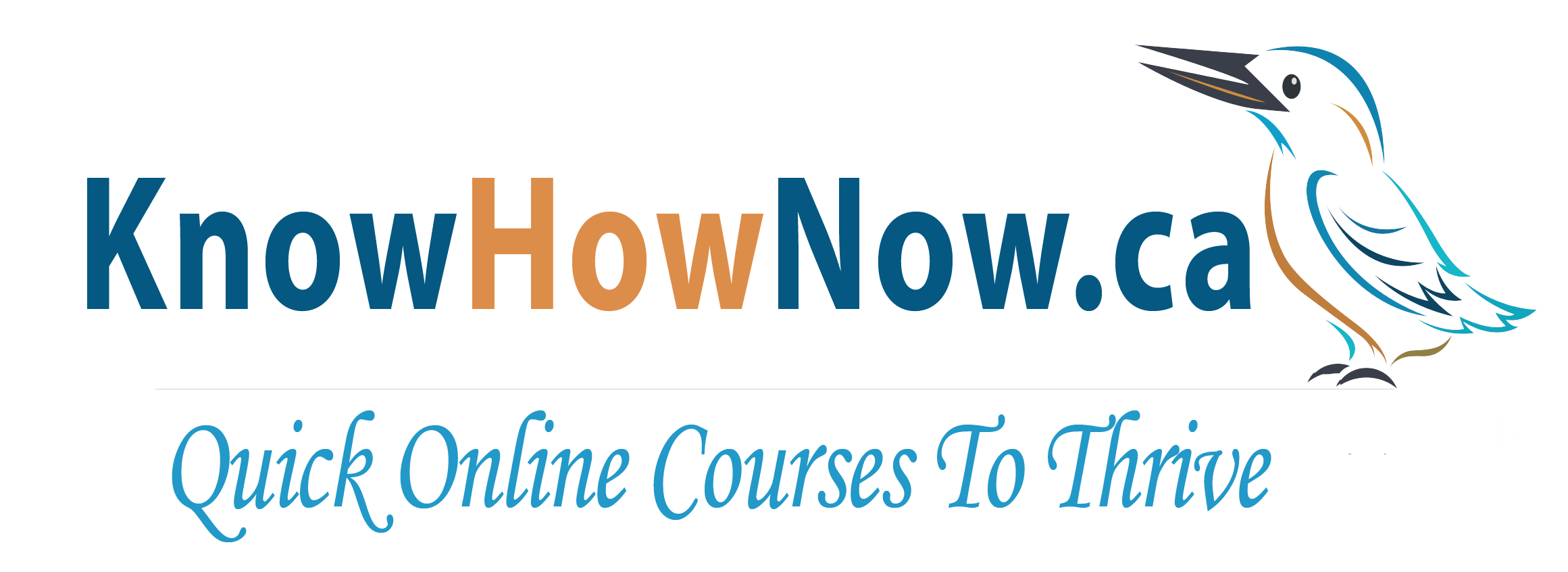 Know How Now logo in blue and orange featuring a similar coloured kingfisher image facing in toward the name. Below a small grey horizontal line is the learning centre's value to students: quick online courses to thrive