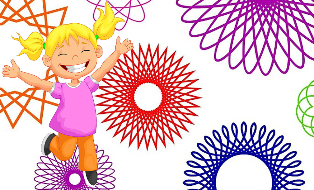 Gleeful girl hopping with spiral art patterns behind her.