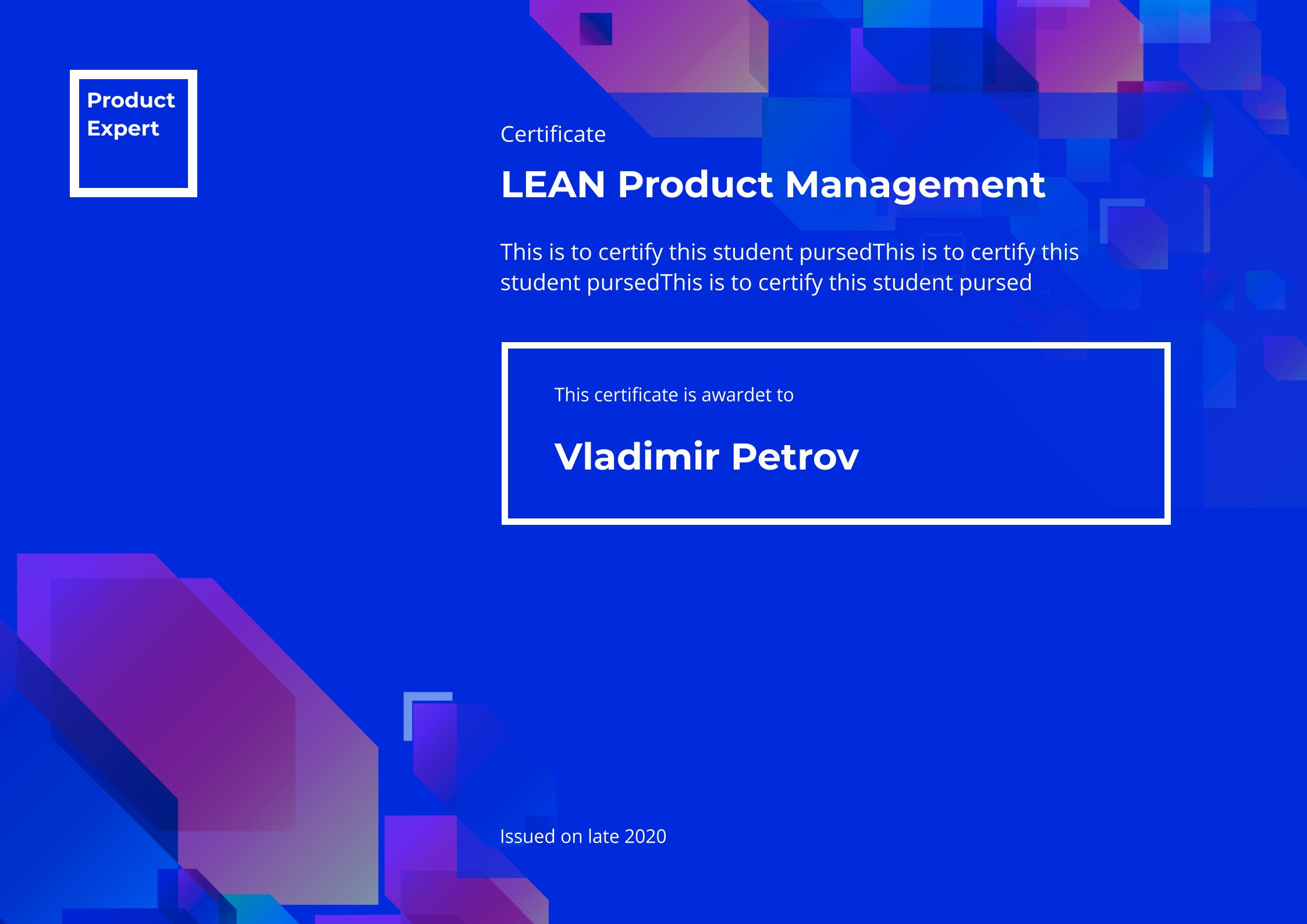 Пример сертификата LEAN Product Management. Product Expert