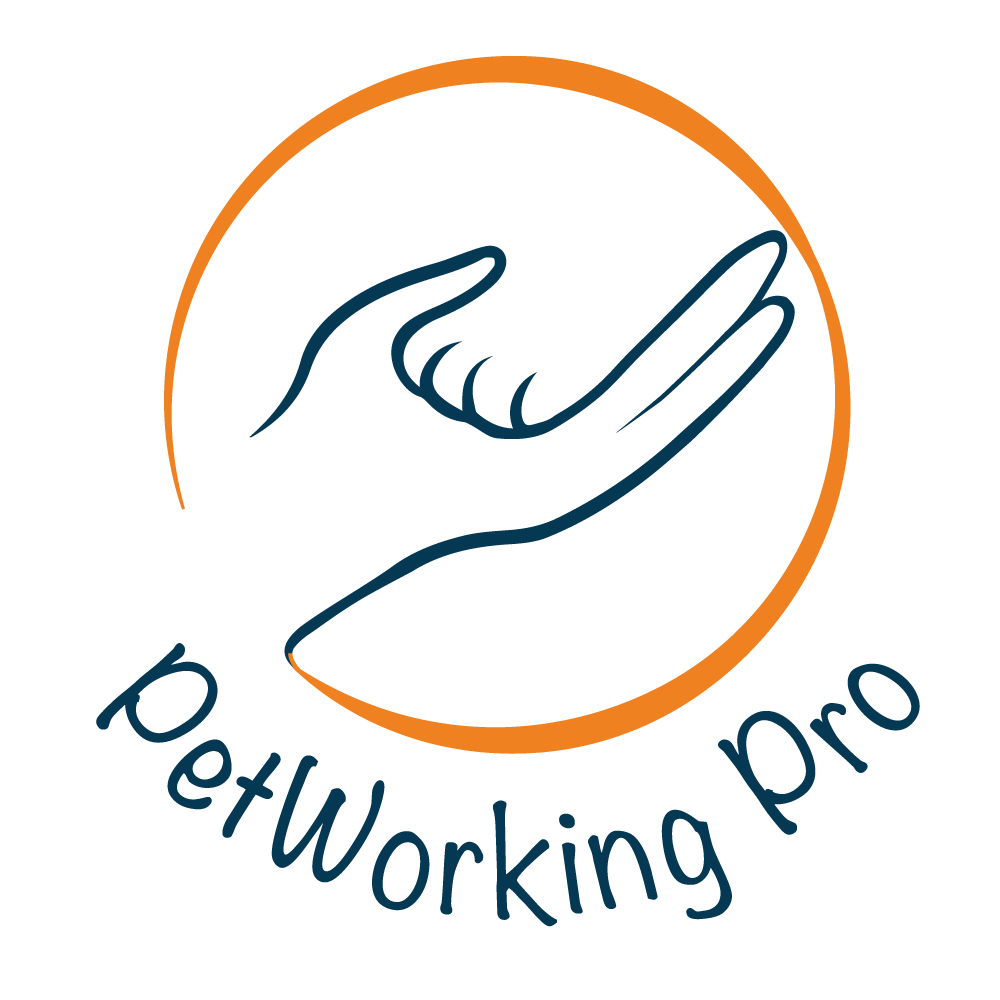Petworking Pro logo is a blue human hand holding an animal paw with an orange circle surrounding both