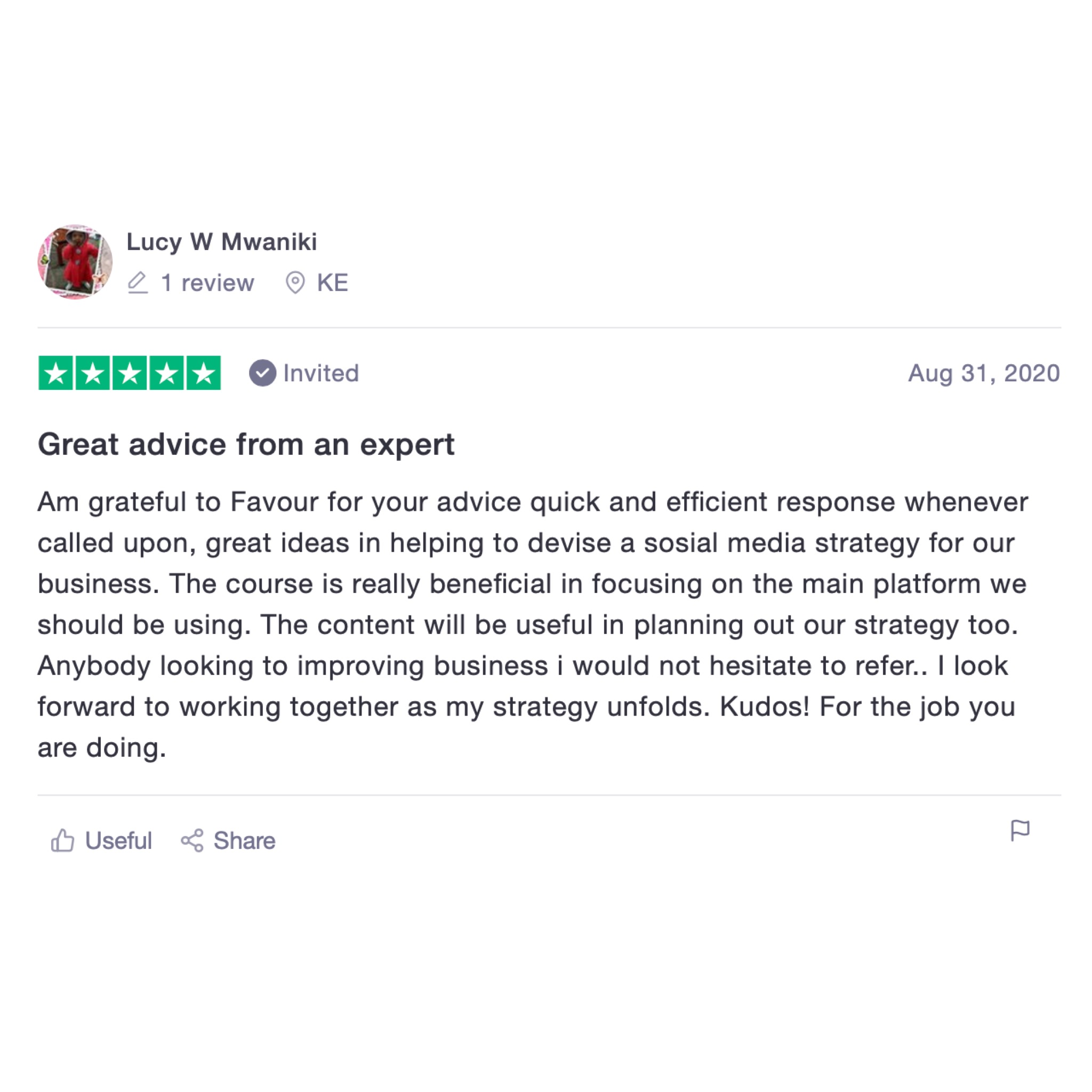 Lucy Mwaniki Trustpilot review for Favour Obasi-ike