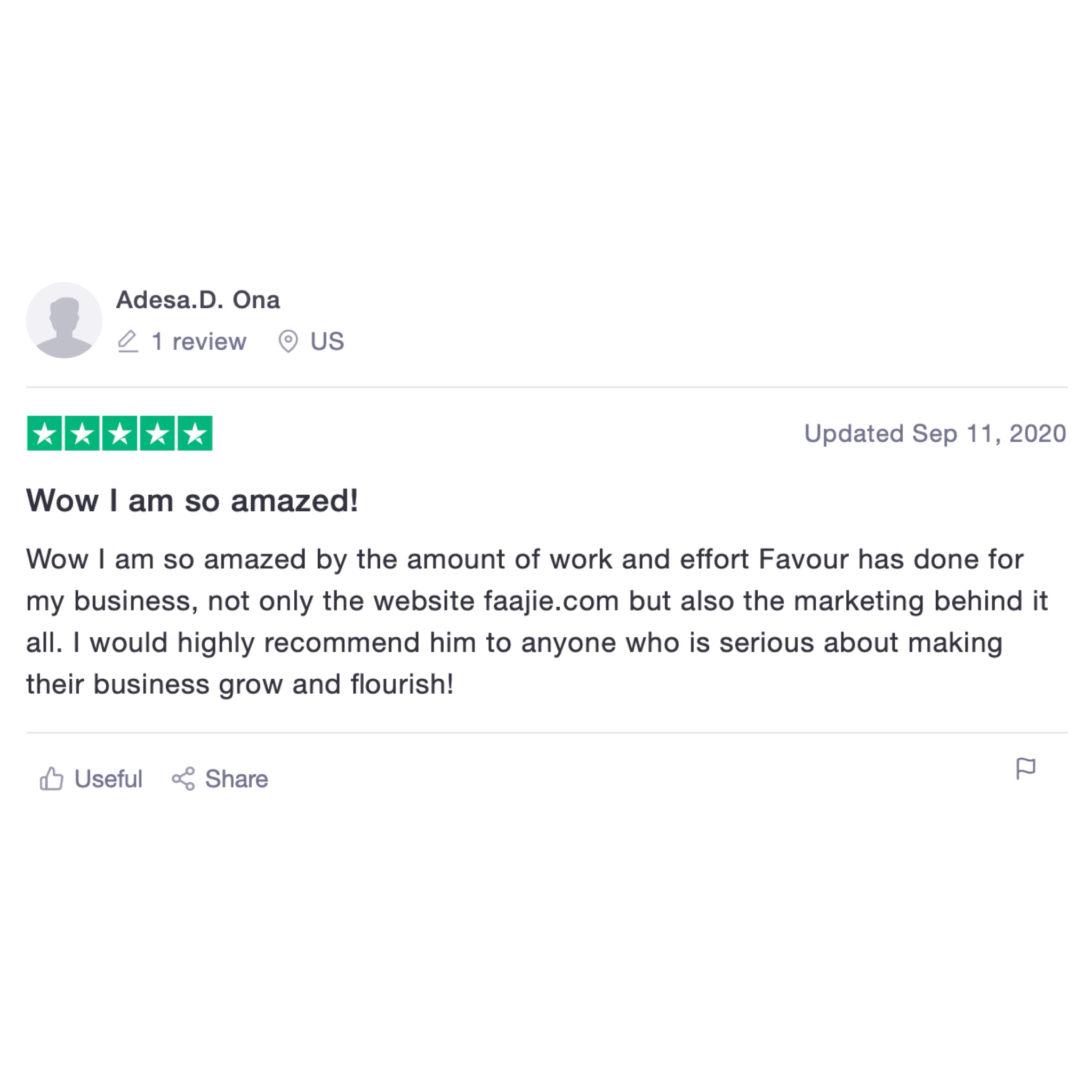 Adesa D Ona - FAAJIE.COM Founder Trustpilot review for Favour Obasi-ike