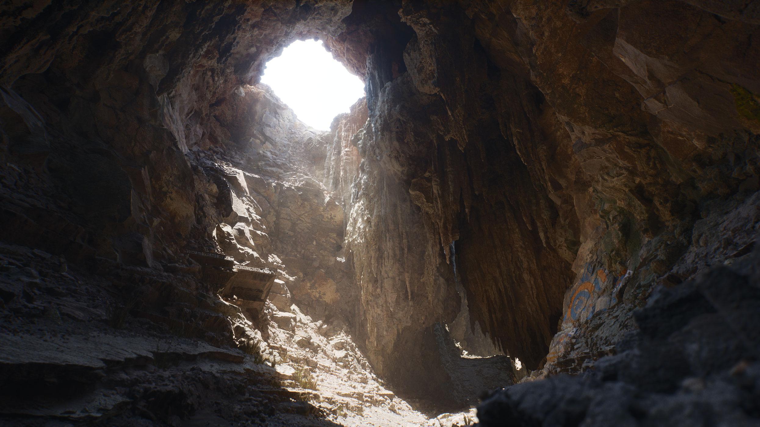 Cueva con claraboya de luz