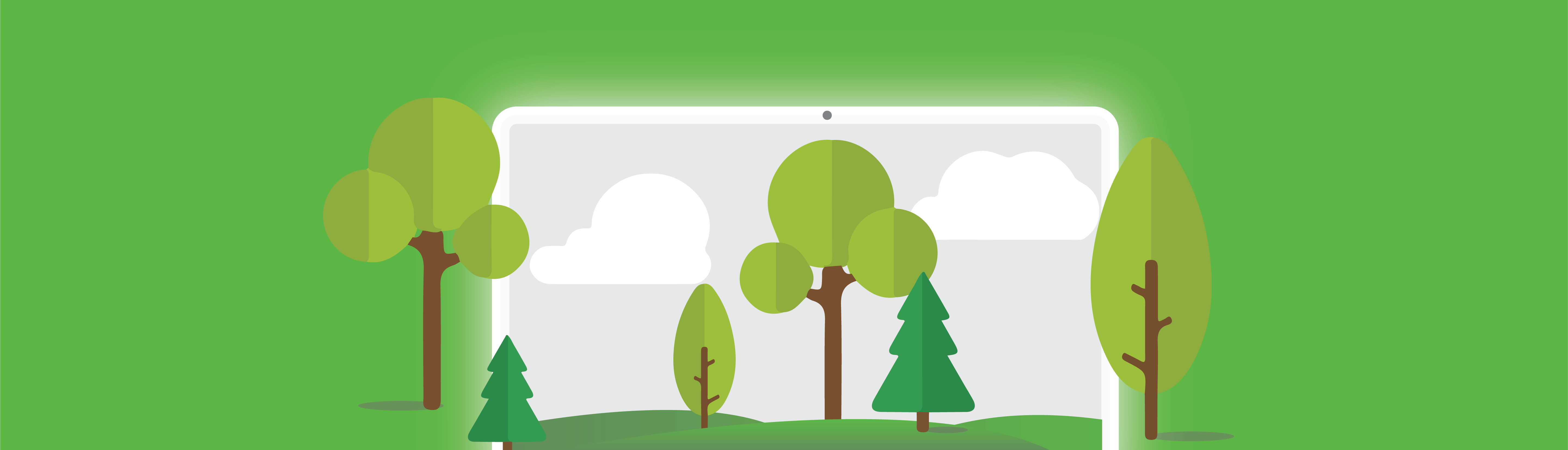 graphic of computer screen surrounded by trees