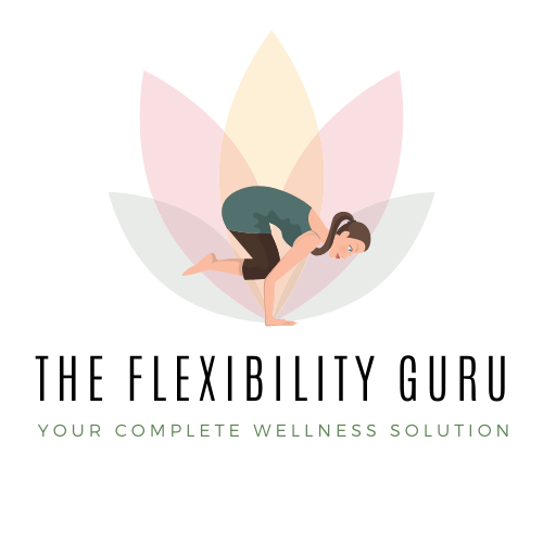 The Flexibility Guru logo is a multicolored lotus flower with a woman in front performing a balancing yoga pose.