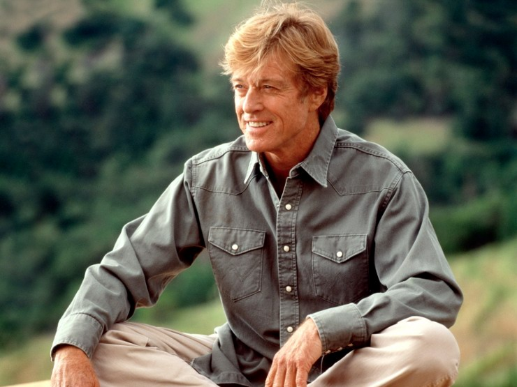 On the set with Robert Redford