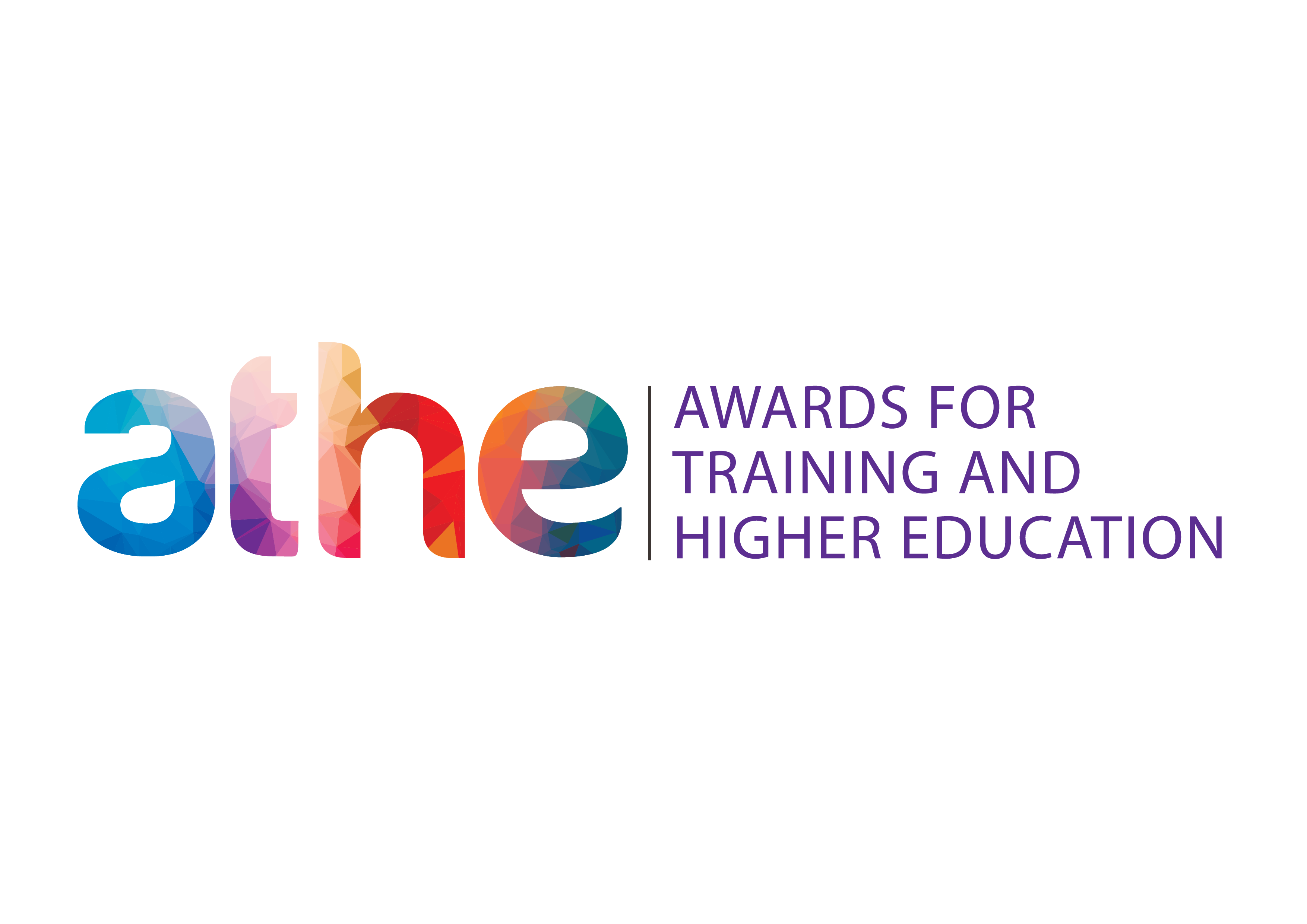 Letters ATHE in multi colours on the left and awards for training and higher education in purple on the right.