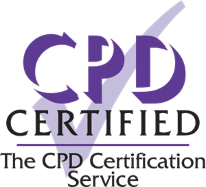 Continuing Professional Development (CPD) logo. Purple CPD letters with certified underneath in black. Faded purple tick background and