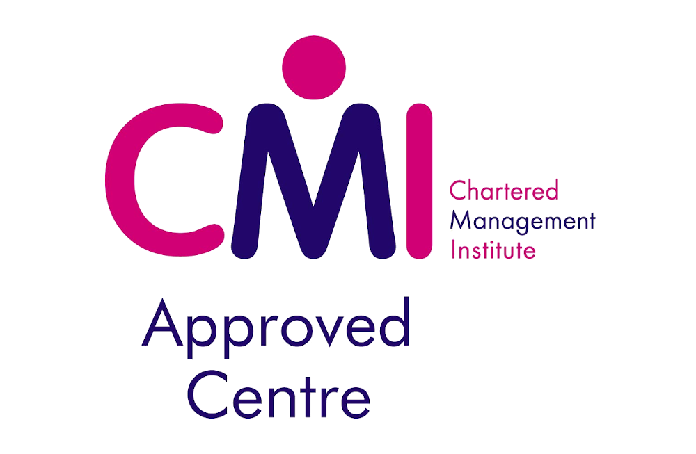 Large CMI letters in pink and purple with