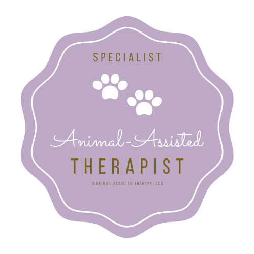 Website badge that reads specialist animal assisted therapist