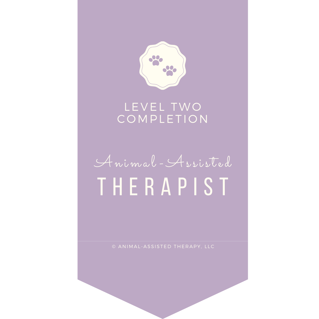Website badge that reads level two completion animal assisted therapist
