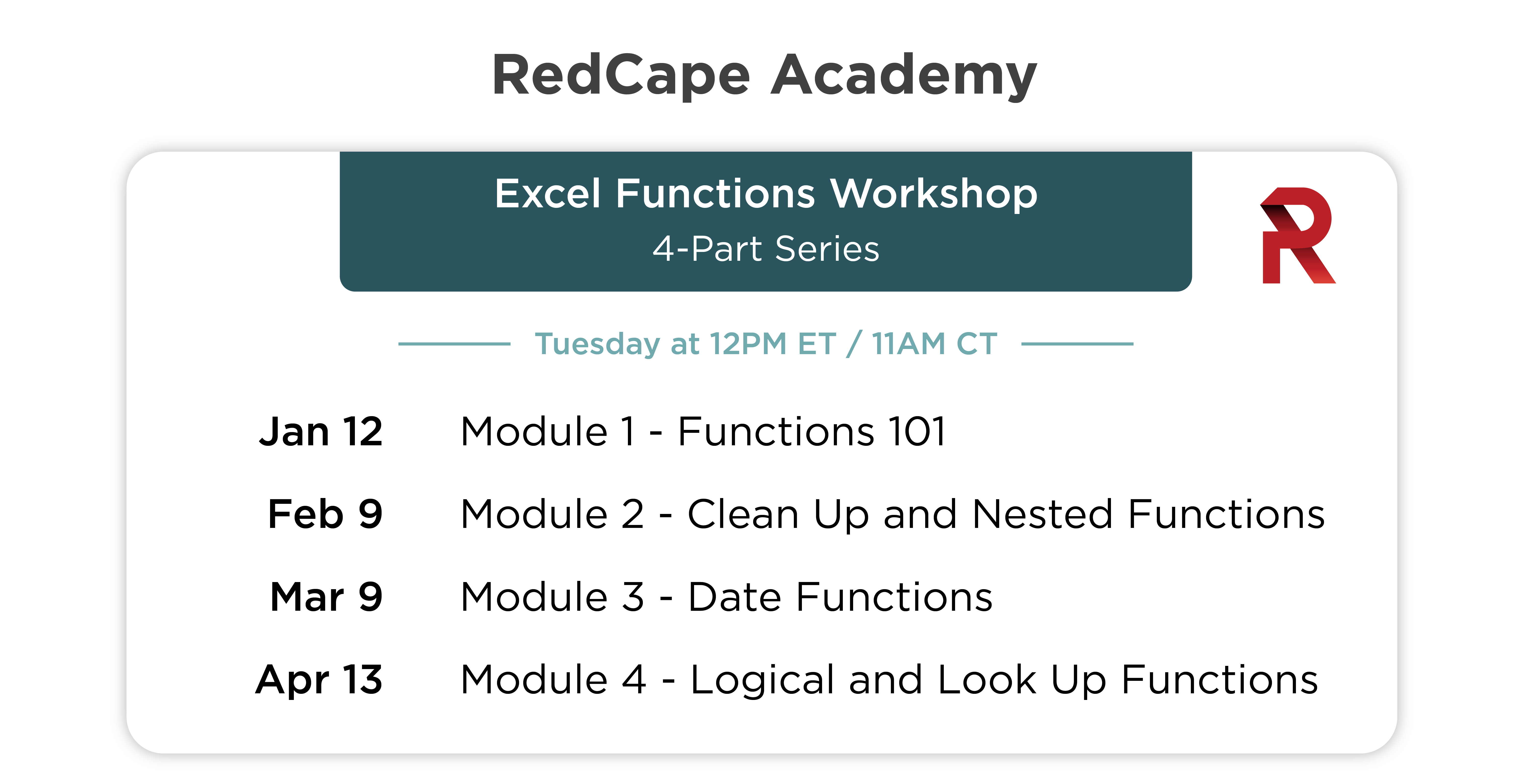 Excel Functions Workshop schedule for 2021 through April.